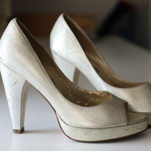 Metallic Gold peep toe Shoes